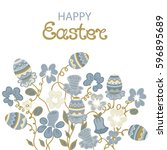 happy easter card with flowers...   Shutterstock .eps vector #596895689