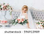 portrait of a beautiful bride... | Shutterstock . vector #596913989