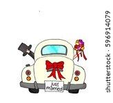 bride and groom in pink car... | Shutterstock . vector #596914079