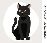 cat breed cute pet black... | Shutterstock .eps vector #596927651