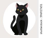 cat breed cute pet black... | Shutterstock .eps vector #596927651
