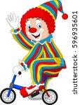 cartoon clown riding bicycle   Shutterstock .eps vector #596935601