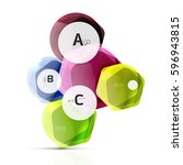glossy glass elements  hexagons ... | Shutterstock .eps vector #596943815