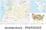 washington state map navigation ... | Shutterstock .eps vector #596950205