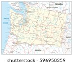 washington state map with roads ... | Shutterstock .eps vector #596950259