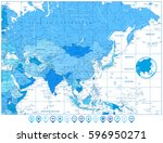 map of asia in colors of blue... | Shutterstock .eps vector #596950271