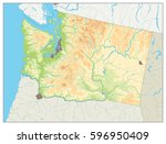 physical map of washington... | Shutterstock .eps vector #596950409
