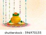 happy ugadi  holiday set ... | Shutterstock .eps vector #596970155
