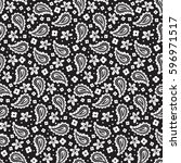 black and white paisley vector... | Shutterstock .eps vector #596971517