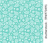 Blue Paisley Vector Seamless...