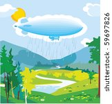 sunny vally with cloud zeppelin ... | Shutterstock .eps vector #59697826