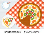fruit pizza on a red checkered... | Shutterstock .eps vector #596983091
