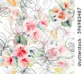 bouquet roses watercolor and... | Shutterstock . vector #596983487