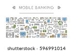 linear concept mobile payments. ... | Shutterstock . vector #596991014