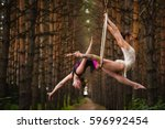 two beautiful and slim gymnasts ... | Shutterstock . vector #596992454