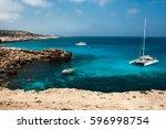 holiday at the mediterranean... | Shutterstock . vector #596998754