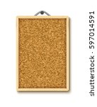 cork board with wooden frame ... | Shutterstock .eps vector #597014591