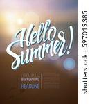 the inscription hello summer on ... | Shutterstock .eps vector #597019385