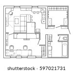 black and white architectural... | Shutterstock .eps vector #597021731