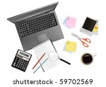 notebook  calculator and office ... | Shutterstock .eps vector #59702569