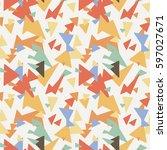 seamless geometric triangle... | Shutterstock .eps vector #597027671