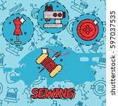 sewing flat concept icons | Shutterstock .eps vector #597037535