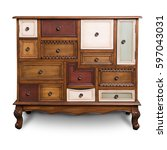 chest of drawers  wooden chest... | Shutterstock . vector #597043031