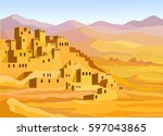 animation arab city. vector... | Shutterstock .eps vector #597043865