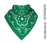 Small photo of Green bandana, on a isolated white background