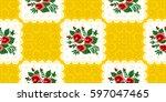 vietnamese vintage pattern rose ... | Shutterstock .eps vector #597047465