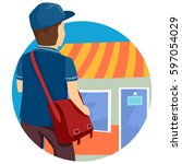 illustration of a mail man with ... | Shutterstock .eps vector #597054029
