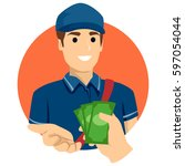 illustration of a delivery man... | Shutterstock .eps vector #597054044