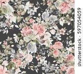 seamless watercolor pattern... | Shutterstock . vector #597054059