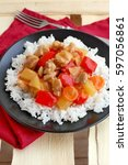 sweet and sour food with rice...