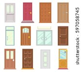 modern old doors icon set house ... | Shutterstock .eps vector #597058745