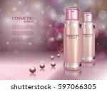 cosmetic ads poster. skin toner ... | Shutterstock .eps vector #597066305