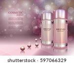 cosmetic ads poster. skin toner ... | Shutterstock .eps vector #597066329