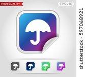umbrella icon. button with...