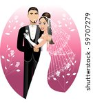 Raster version Illustration. A beautiful bride and groom on their wedding day. Wedding Couple. I have other variations of wedding brides, bridesmaids and couples. - stock photo