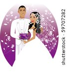 Raster version Illustration. Illustration. A beautiful bride and groom on their wedding day. Wedding Couple 5. - stock photo