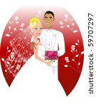 Raster Illustration. A beautiful bride and groom on their wedding day. Wedding Couple 6. - stock photo