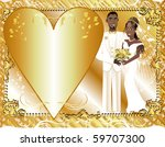 Raster version Illustration of beautiful bride and groom on their wedding day. Can be used as a template for card or invitation. Wedding Couple 2. - stock photo