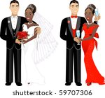 Raster version Illustration. A beautiful bride and groom on their wedding day. Wedding Couple 1. - stock photo