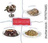 italian menu colorful... | Shutterstock .eps vector #597074681