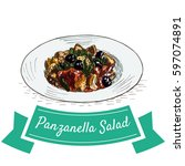 panzanella salad colorful... | Shutterstock .eps vector #597074891