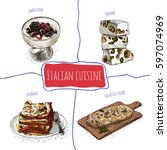 italian menu colorful... | Shutterstock .eps vector #597074969