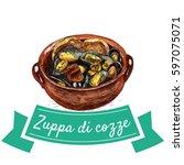 zuppa di cozze colorful... | Shutterstock .eps vector #597075071