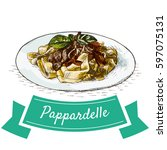 pappardelle colorful... | Shutterstock .eps vector #597075131