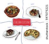 italian menu colorful...   Shutterstock .eps vector #597075221