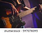 close up photo of bass guitar... | Shutterstock . vector #597078395